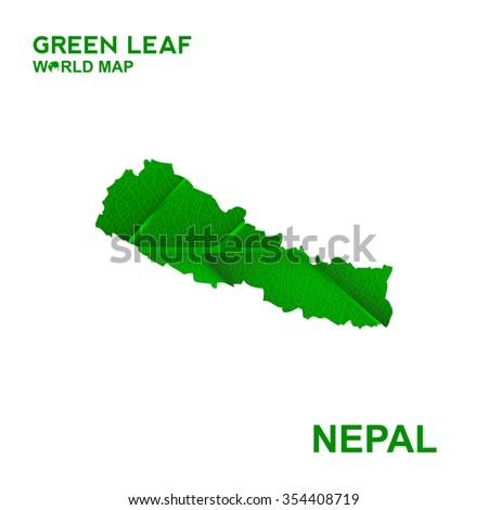 Map Of Nepal,Nature green leaf, vector illustration