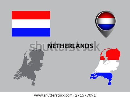Map of Netherlands and symbol - stock vector