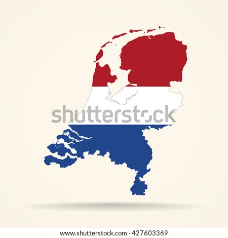 Map of Netherlands in Netherlands flag colors