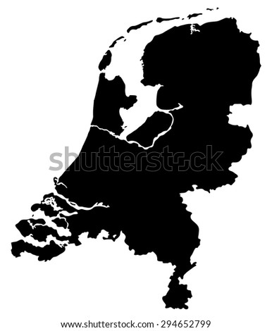 Map of Netherlands isolated on white background - stock vector