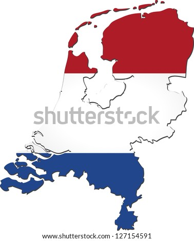 Netherlands Country Border Line Dutch Flag Stock Vector 50008306