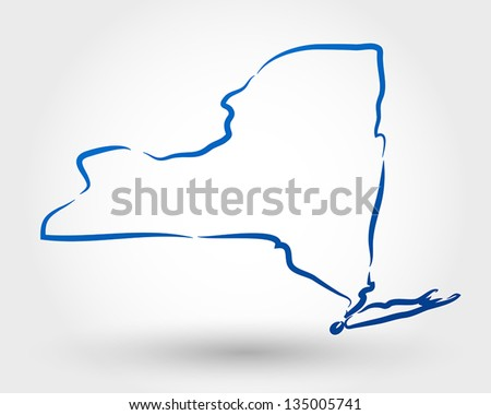 map of new york. map concept - stock vector