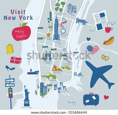 Map of New York sights
