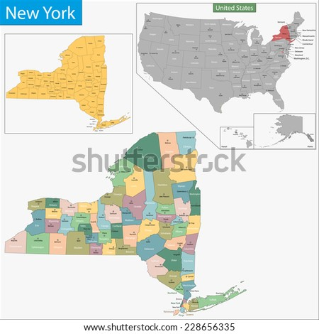 Map of New York state designed in illustration with the counties and the county seats - stock vector