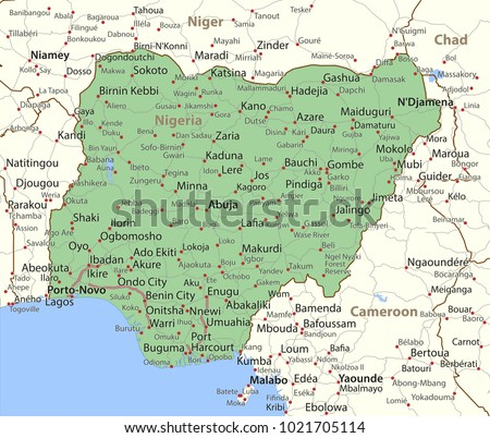 Map nigeria shows country borders place stock vector 1021705114 map of nigeria shows country borders place names and roads labels in english gumiabroncs Image collections