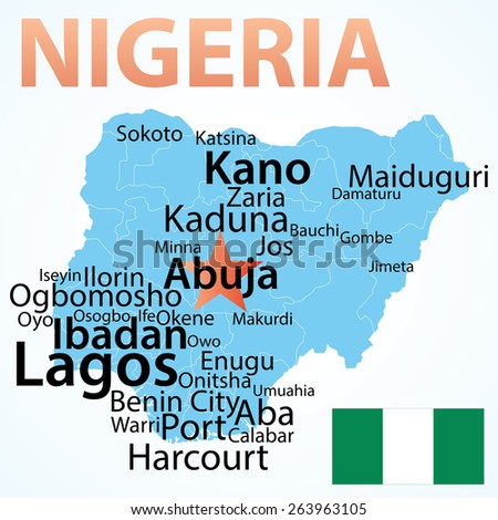 Map of Nigeria with largest cities. Carefully scaled text by city population.
