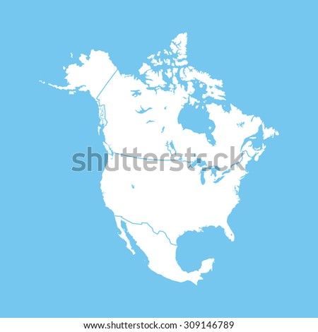 map of North America - stock vector