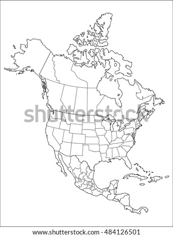 Map North America Stock Vector Shutterstock - Printable map of north america