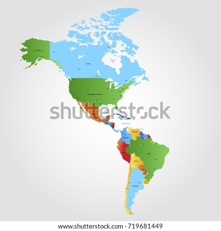 Map South North America Countries Capitals Stock Vector - Maps of north america