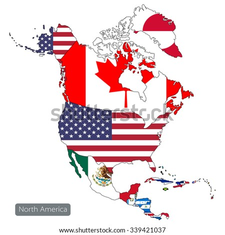 Map north america on white background stock vector 339421037 map of north america on white background countries and flags publicscrutiny Image collections