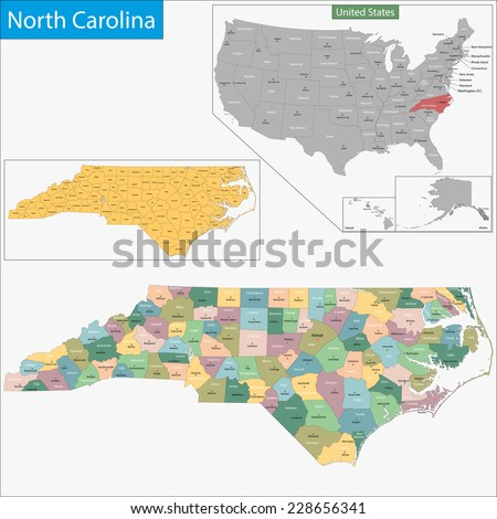 Map of North Carolina state designed in illustration with the counties and the county seats - stock vector