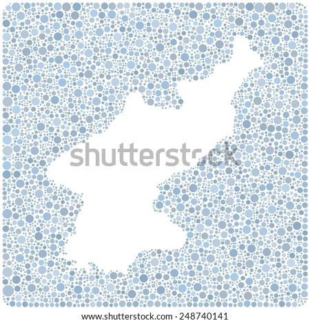 Map of North Korea into a square icon. Mosaic of colored little bubbles - stock vector