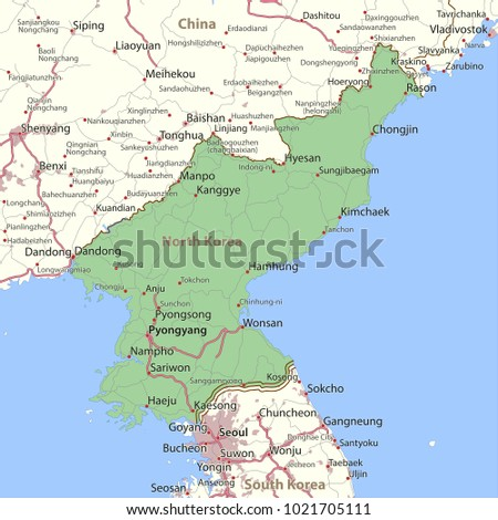 Map North Korea Shows Country Borders Stock Photo Photo Vector