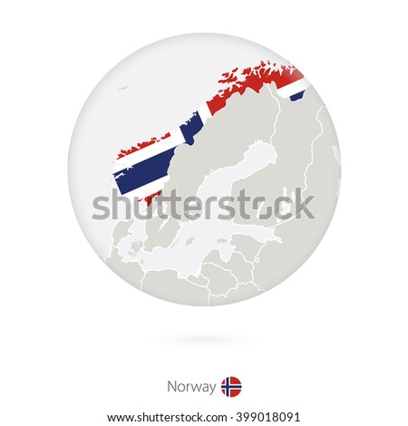Map of Norway and national flag in a circle. Norway map contour with flag. Vector Illustration. - stock vector