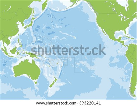 Map of Oceania - stock vector