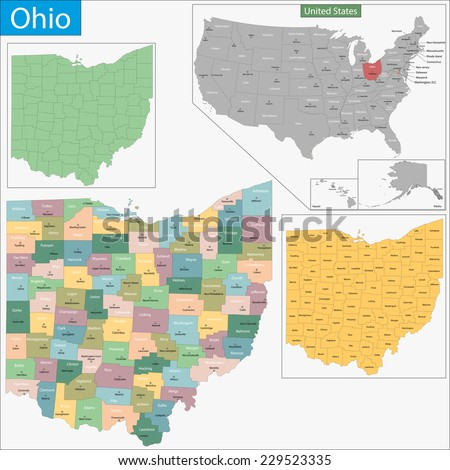 Map of Ohio state designed in illustration with the counties and the county seats - stock vector