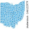 Map of Ohio - USA - in a mosaic of blue circles. A number of 1908 little bubbles are accurately inserted into the mosaic. White background. - stock vector