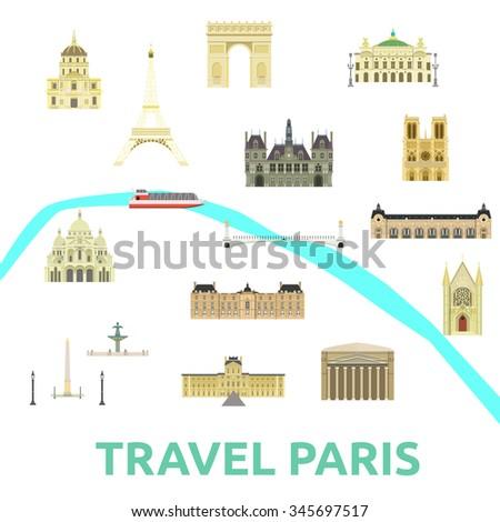 map of paris attraction landmarkbridge museum opera square seine river