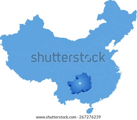 Map of People's Republic of China where Guizhou province is pulled out - stock vector