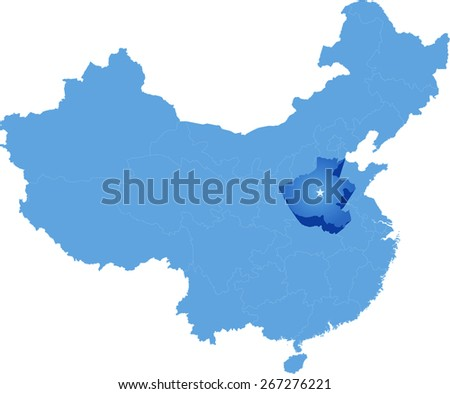 Map of People's Republic of China where Henan province is pulled out - stock vector
