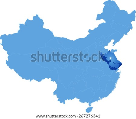 Map of People's Republic of China where Jiangsu province is pulled out - stock vector