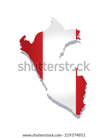 map of peru with the image of the national flag