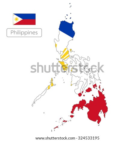 map of Philippines with the flag - stock vector