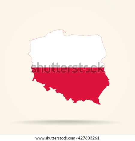 Map of Poland in Poland flag colors - stock vector
