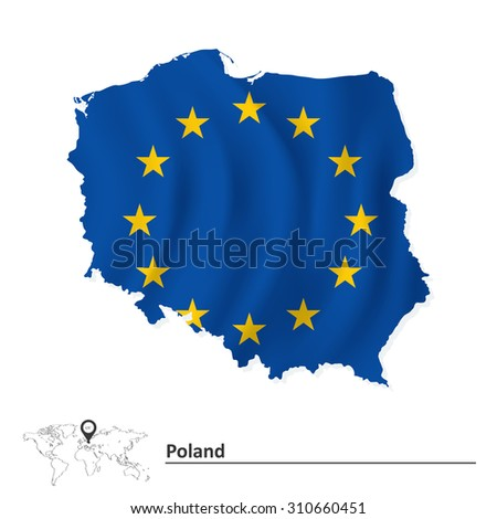 Map of Poland with European Union flag - vector illustration - stock vector