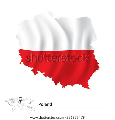 Map of Poland with flag - vector illustration - stock vector