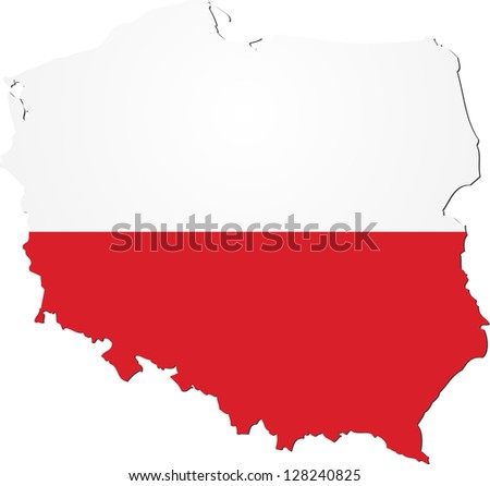 Map of Poland with national flag isolated on white background - stock vector