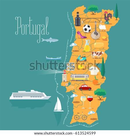 Portugal Map Stock Images RoyaltyFree Images Vectors - Portugal elevation map