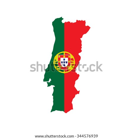 Map of Portugal with national flag isolated on white background - stock vector