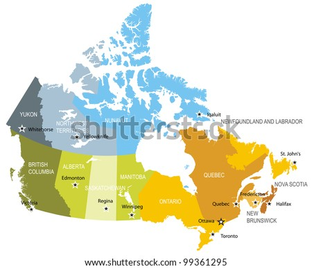 Map of provinces and territories of Canada - stock vector