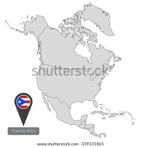 Map of Puerto-Rico with an official flag. Location in North America - stock vector
