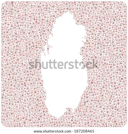 Map of Qatar - Middle East - into a square icon. Mosaic of colored circles.