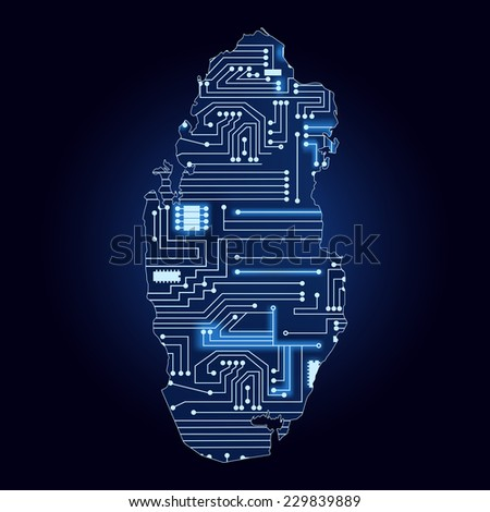 Map of Qatar with electronic circuit. Contour map of Qatar with a technological electronics circuit.  - stock vector