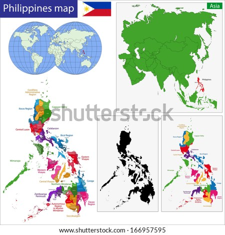 Map of Republic of the Philippines with the provinces colored in bright colors - stock vector