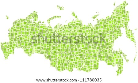 Map of Russia in a mosaic of green squares. A number of 2884 little squares are inserted into the mosaic.