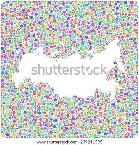 Map of Russia into a square icon. Mosaic of harlequin circles - stock vector
