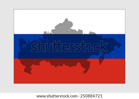 Map Of Russia. Outline map of the country against the background of the Russian flag. The image for the article about the Russian Federation. - stock vector