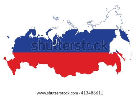 Map of Russian Federation with national flag isolated on white background - stock vector