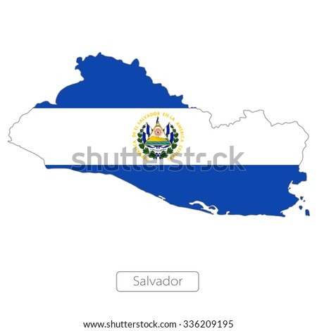 map of Salvador with the flag. North America  - stock vector