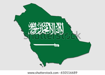 Map of Saudi Arabia, Filled with the National Flag