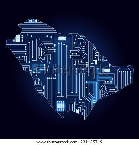 Map of Saudi Arabia with electronic circuit. Contour map of Saudi Arabia with a technological electronics circuit.  - stock vector
