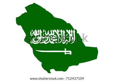 Map of Saudi Arabia with Flag. Hand Painted with Brush. Vector Illustration.