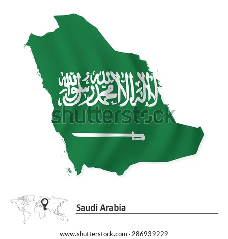 Map of Saudi Arabia with flag - vector illustration - stock vector