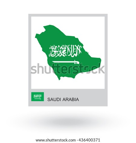 Map of Saudi Arabia with national flag.