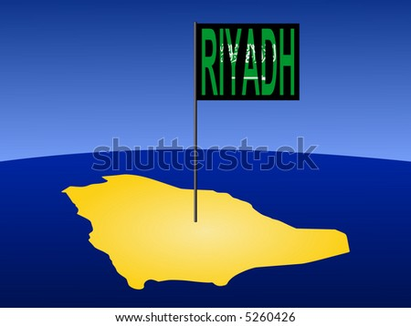 map of Saudi Arabia with position of Riyadh marked by flag pole illustration
