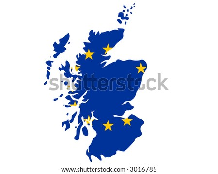 map of Scotland and European union flag illustration - stock vector